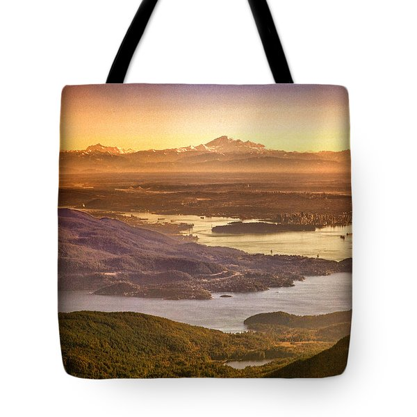 Vancouver And Mt Baker Aerial View Tote Bag