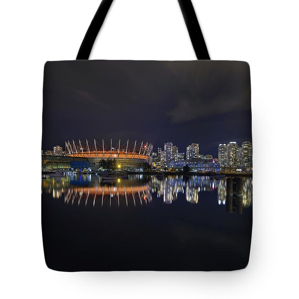 Vancouver Bc Canada City Skyline By False Creek At Night Tote Bag by David Gn