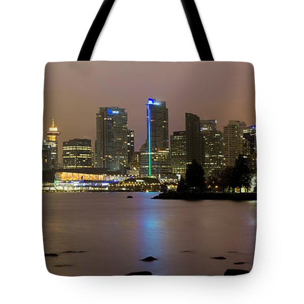 Vancouver Bc City Skyline At Night Tote Bag by David Gn