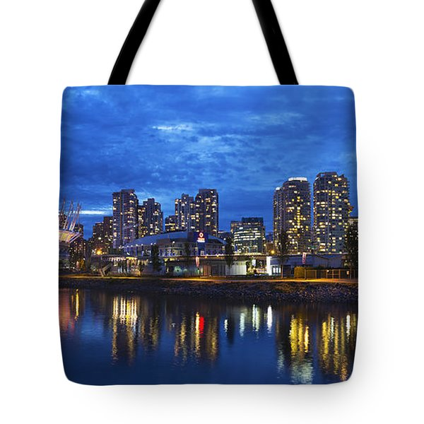 Vancouver Bc City Skyline With Bc Place At Blue Hour Tote Bag by David Gn