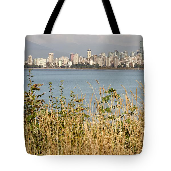 Tote Bag featuring the photograph Vancouver Bc Downtown From Hasting Mills Park by JPLDesigns