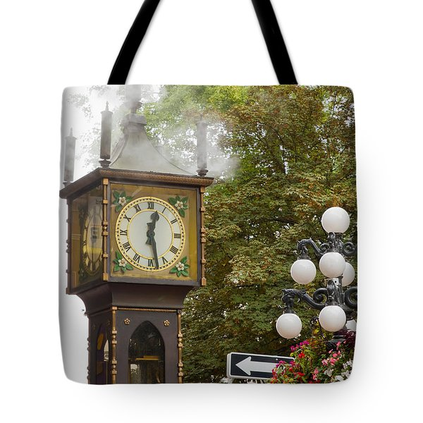 Tote Bag featuring the photograph Vancouver Bc Historic Gastown Steam Clock by JPLDesigns