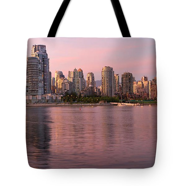 Tote Bag featuring the photograph Vancouver Bc Skyline Along False Creek At Dusk by JPLDesigns