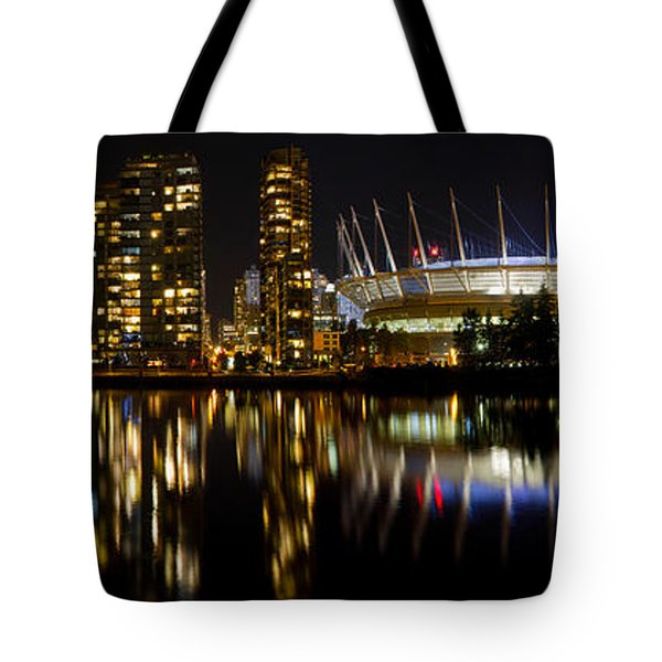 Tote Bag featuring the photograph Vancouver Bc Skyline Along False Creek At Night by JPLDesigns