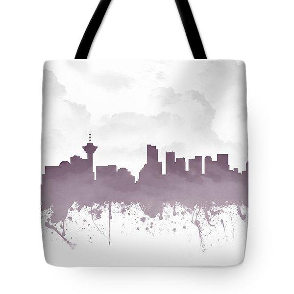 Vancouver British Columbia Skyline - Purple 03 Tote Bag
