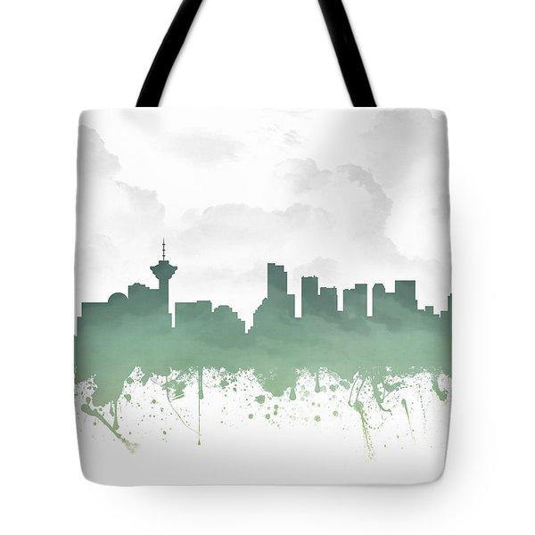 Vancouver British Columbia Skyline - Teal 03 Tote Bag