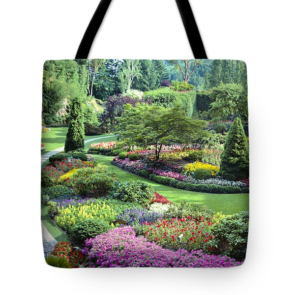 Vancouver Butchart Sunken Gardens Beautiful Flowers No People Panorama Tote Bag