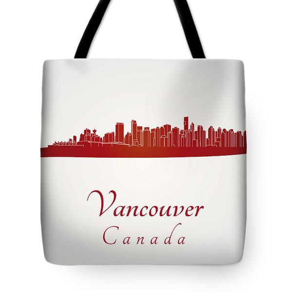 Vancouver Skyline In Red Tote Bag