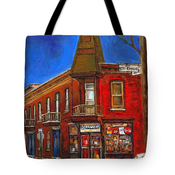 Vanishing Montreal Landmark Depanneur Ste. Emilie And Bourget Montreal Painting By Carole Spandau  Tote Bag by Carole Spandau