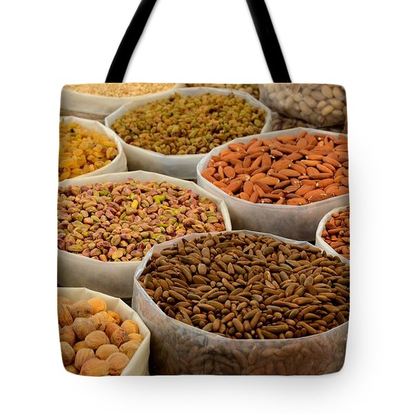 Variety Of Raw Nuts For Sale At Outdoor Street Market Karachi Pakistan Tote Bag
