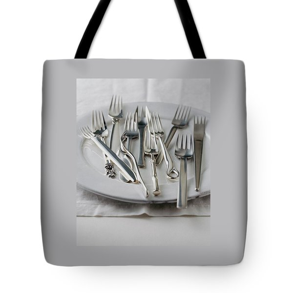 Various Forks On A Plate Tote Bag