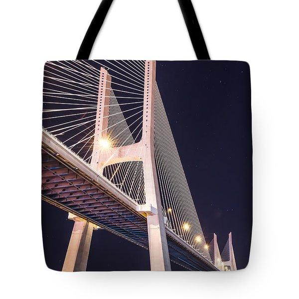 Vasco Da Gama Bridge At Night Tote Bag