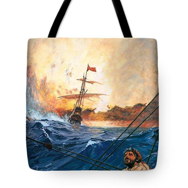 Vasco Da Gama's Ships Rounding The Cape Tote Bag by English School