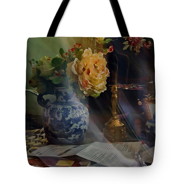 Blue Vase And Flowers  Tote Bag