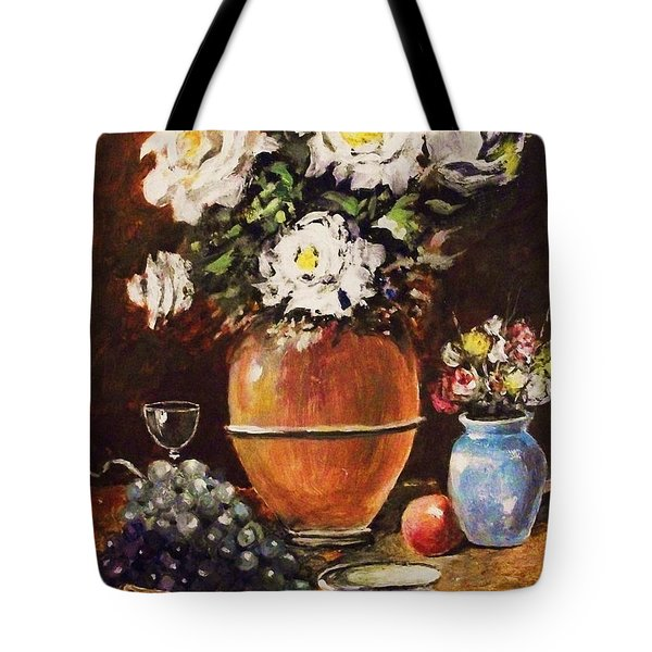 Tote Bag featuring the painting Vase Of Flowers And Fruit by Al Brown