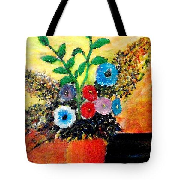 Vase Of Flowers Tote Bag by Mauro Beniamino Muggianu