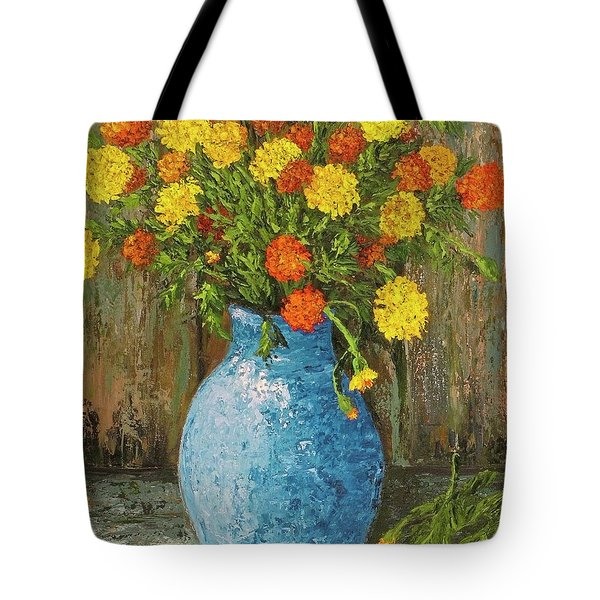 Vase Of Marigolds Tote Bag