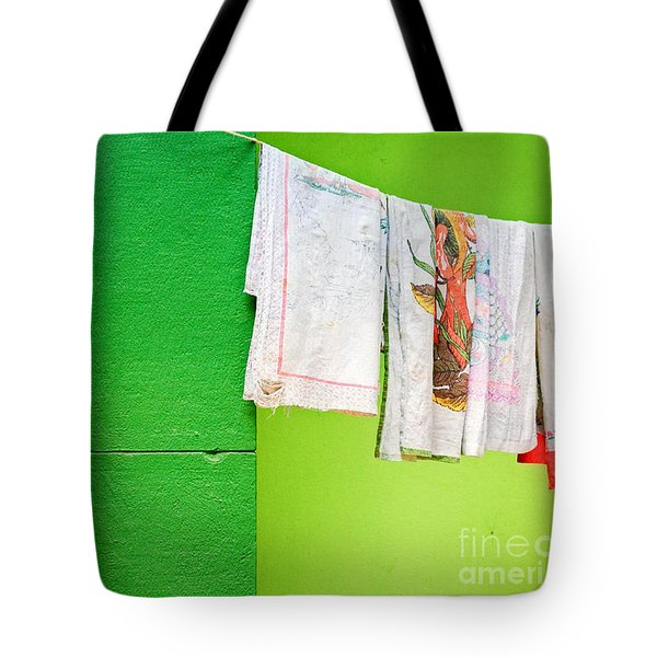 Vase Towels And Green Wall Tote Bag by Silvia Ganora