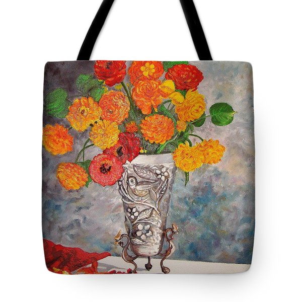 Vase With Bird Tote Bag