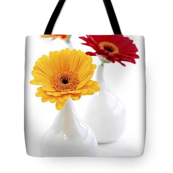 Vases With Gerbera Flowers Tote Bag by Elena Elisseeva