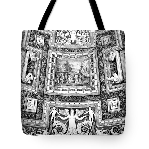 Vatican Museum Gallery Of Maps Black And White Tote Bag