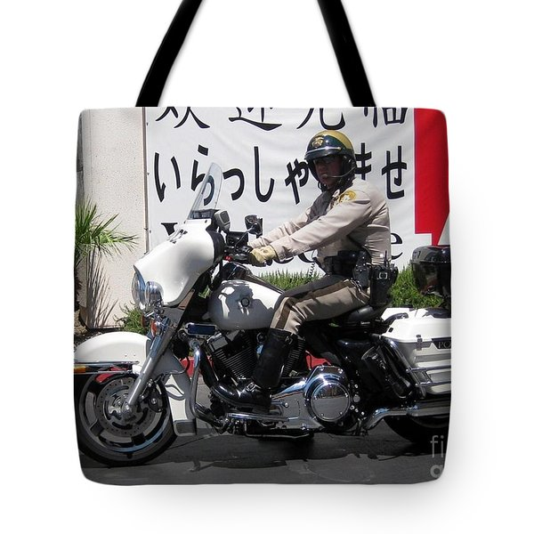 Vegas Motorcycle Cop Tote Bag by John Malone