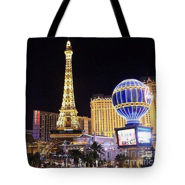 Vegas Paris Hotel Skyline Tote Bag