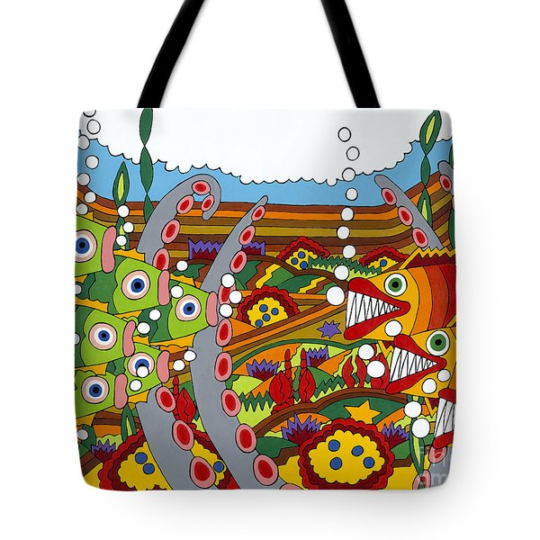 Vegetarians And Meat Eaters Tote Bag by Rojax Art