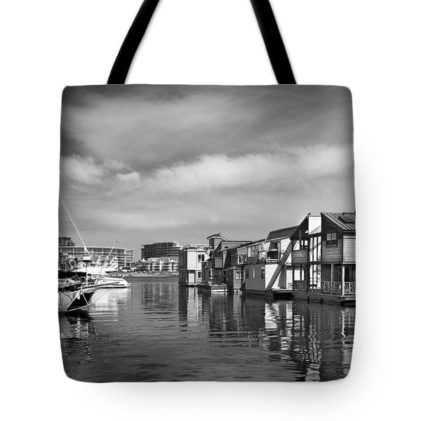 Veiw Of Marina In Victoria British Columbia Black And White Tote Bag