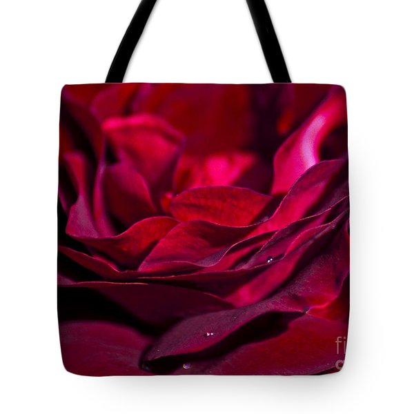 Velvet Red Rose Tote Bag by Jan Bickerton