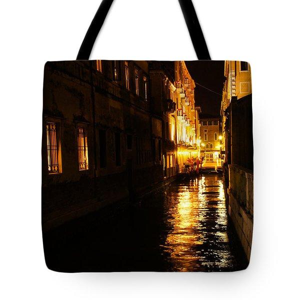 Tote Bag featuring the photograph Venetian Golden Glow by Georgia Mizuleva