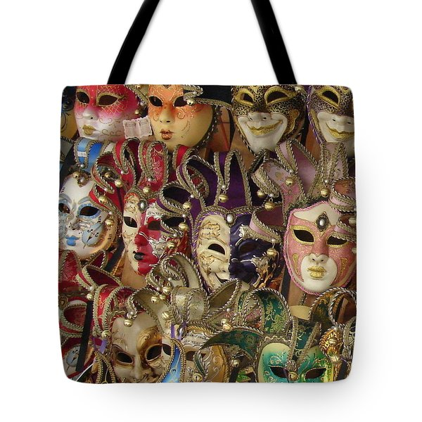 Tote Bag featuring the photograph Venetian Masks by Ramona Johnston