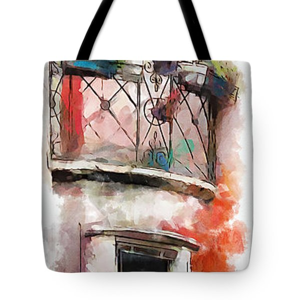 Tote Bag featuring the painting Venetian Windows 4 by Greg Collins