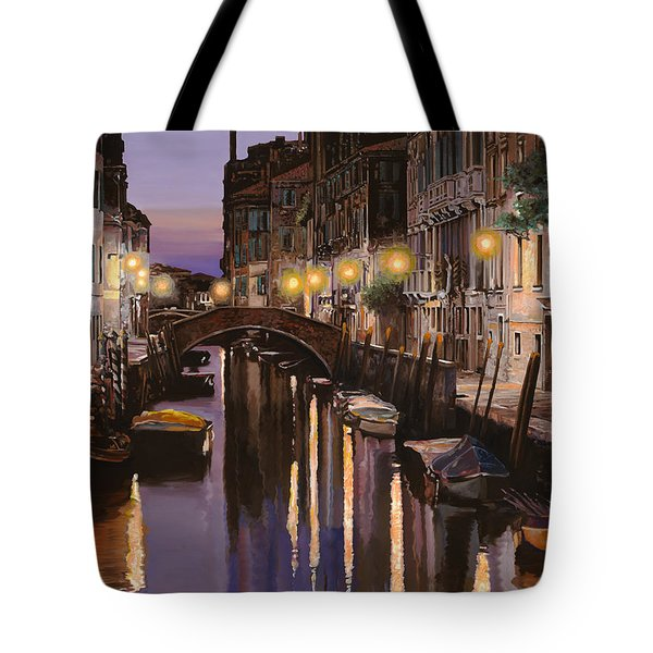 Tote Bag featuring the painting Venezia Al Crepuscolo by Guido Borelli