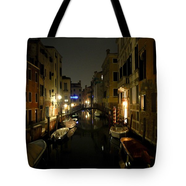 Tote Bag featuring the photograph Venice At Night by Silvia Bruno
