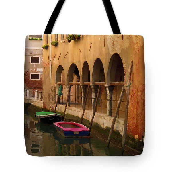 Venice Boats On Canal Tote Bag