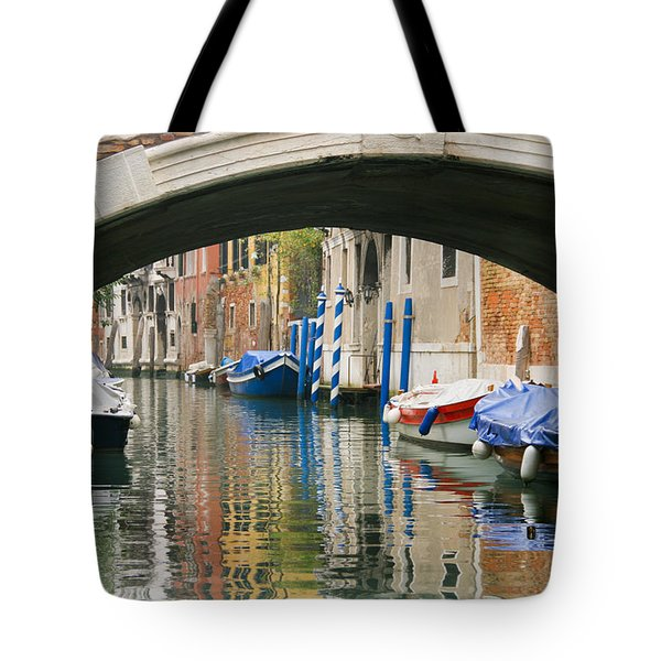 Tote Bag featuring the photograph Venice Canal Boat by Silvia Bruno