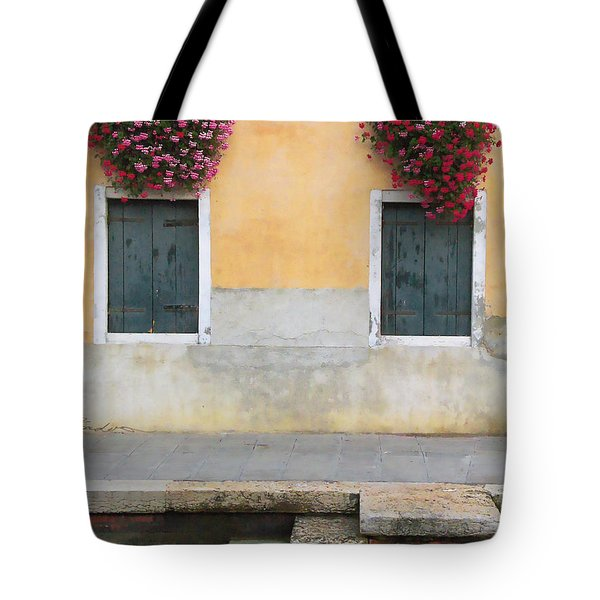 Venice Canal Shutters With Window Flowers Tote Bag