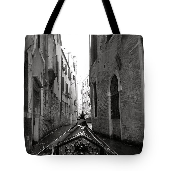 Venice Gondola Black And White Tote Bag by Teresa Tilley