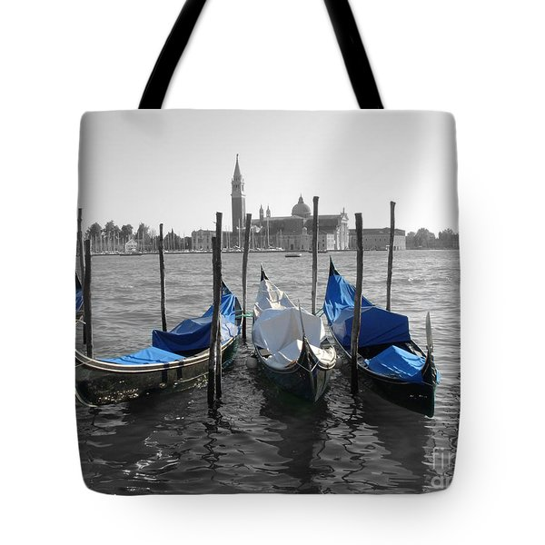 Venice Italy Boats In Black And Blue Tote Bag