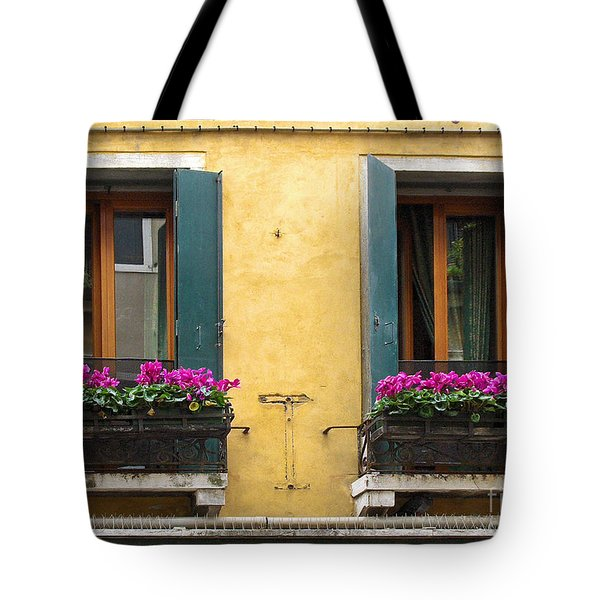 Venice Italy Teal Shutters Tote Bag