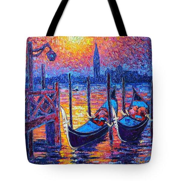 Venice Mysterious Light - Gondolas And San Giorgio Maggiore Seen From Plaza San Marco Tote Bag by Ana Maria Edulescu