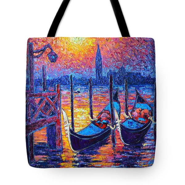 Venice Mysterious Light - Gondolas And San Giorgio Maggiore Seen From Plaza San Marco Tote Bag