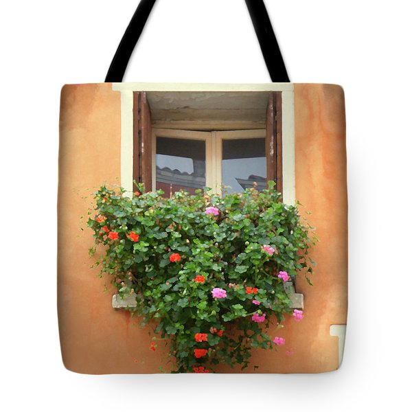 Venice Shutters Flowers Orange Wall Tote Bag