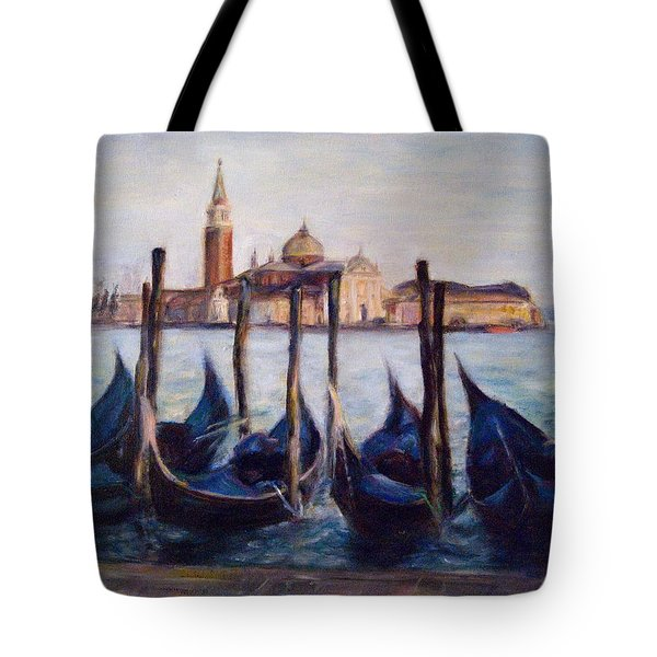 Venice Through The Gondolas Italy Painting Tote Bag by Quin Sweetman