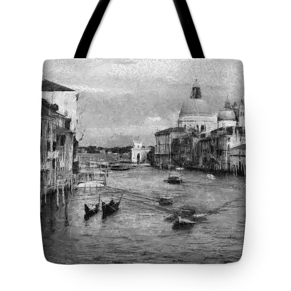 Vintage Venice Black And White Tote Bag by Georgi Dimitrov