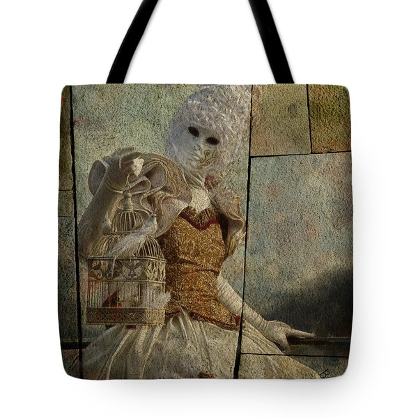 Tote Bag featuring the photograph Venitian Carnival-bird In A Cage by Barbara Orenya