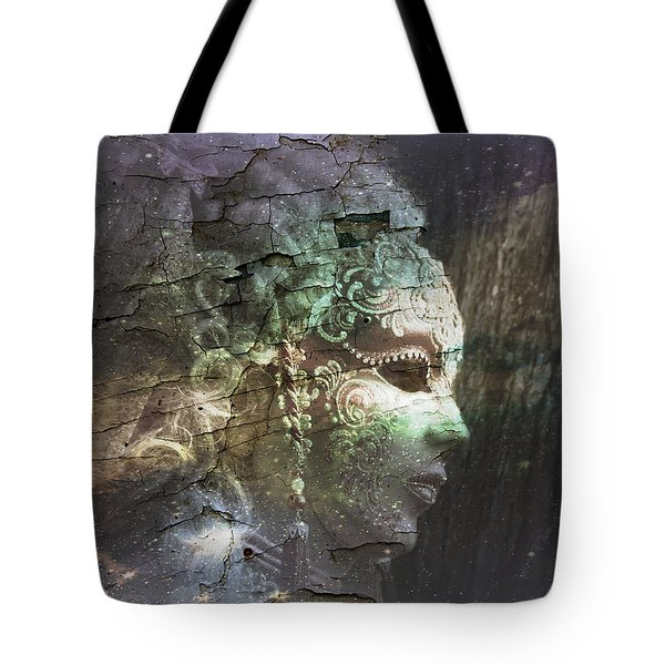 Tote Bag featuring the digital art Venitian Carnival - The Shimmering Lady by Barbara Orenya