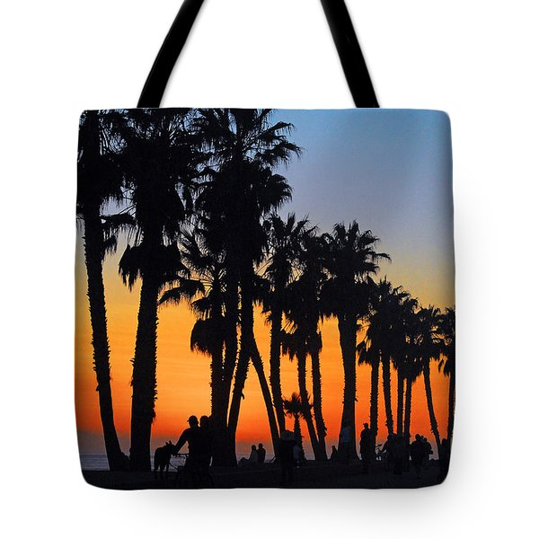 Tote Bag featuring the photograph Ventura Boardwalk Silhouettes by Lynn Bauer