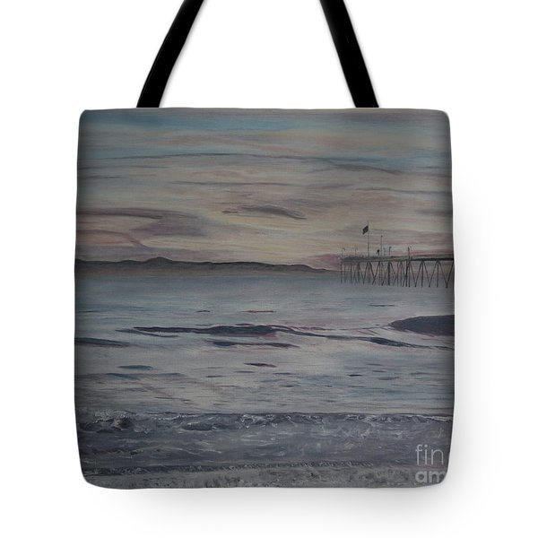 Tote Bag featuring the painting Ventura Pier High Surf by Ian Donley